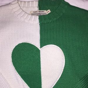 Tory Burch Sweaters - Colorblock Cable Knit Heart Sweater